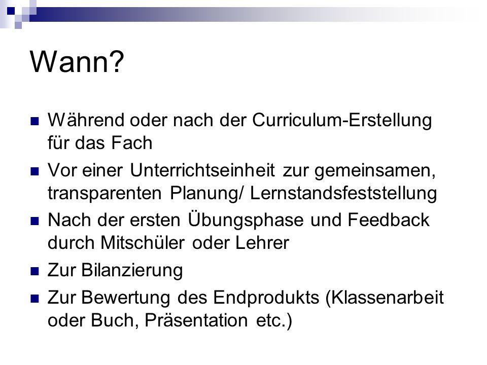 Wann? Während oder nach der Curriculum-Erstellung für das Fach Vor einer Unterrichtseinheit zur gemeinsamen, transparenten Planung/ Lernstandsfeststel