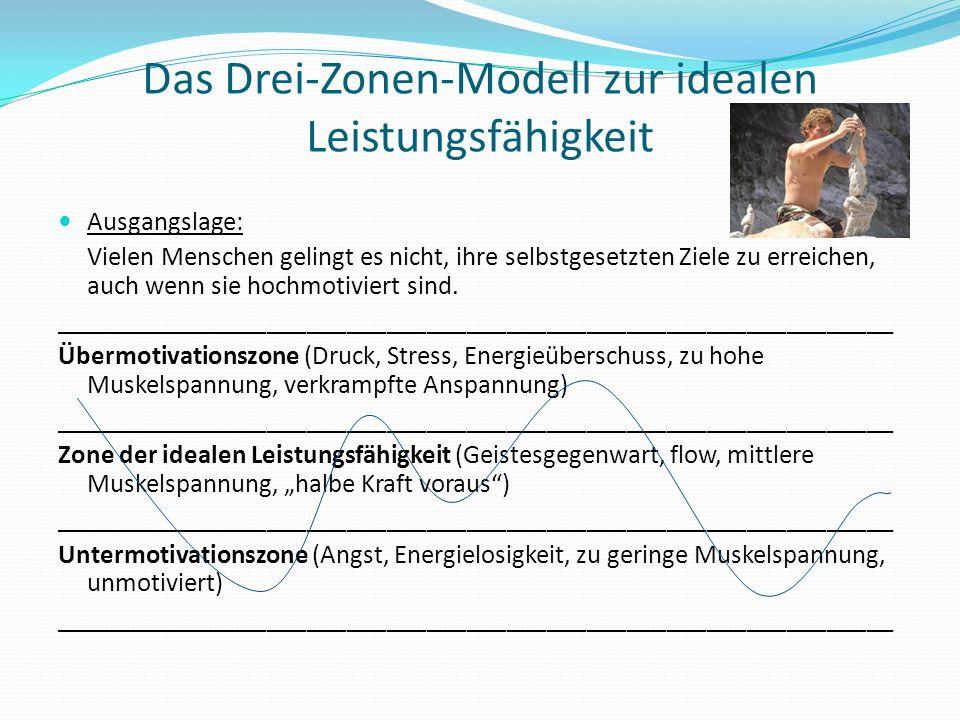 Das Drei-Zonen-Modell zur idealen Leistungsfähigkeit Ausgangslage: Vielen Menschen gelingt es nicht, ihre selbstgesetzten Ziele zu erreichen, auch wen