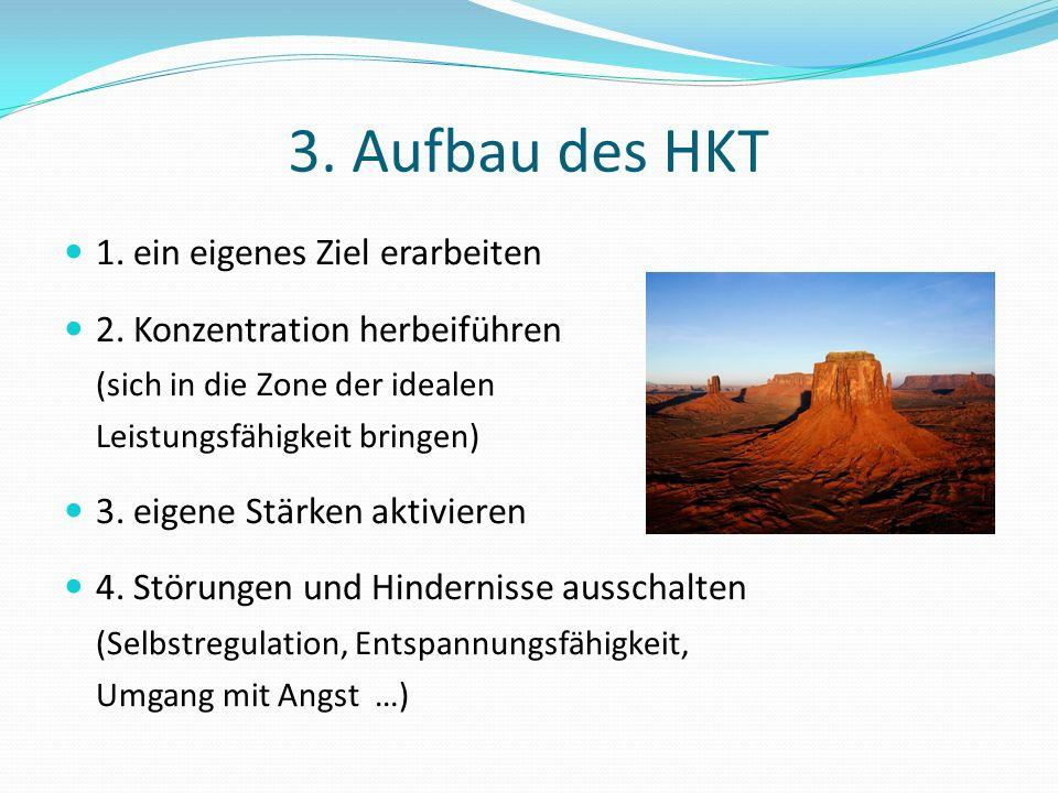 3. Aufbau des HKT 1. ein eigenes Ziel erarbeiten 2. Konzentration herbeiführen (sich in die Zone der idealen Leistungsfähigkeit bringen) 3. eigene Stä