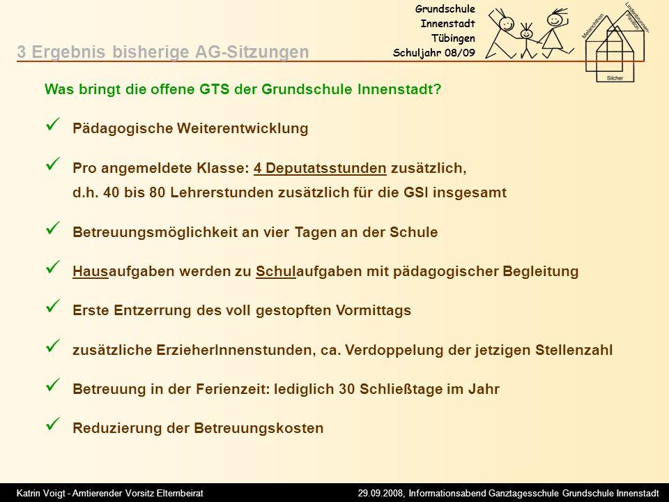 Katrin Voigt - Amtierender Vorsitz Elternbeirat 29.09.2008, Informationsabend Ganztagesschule Grundschule Innenstadt Grundschule Innenstadt Tübingen S