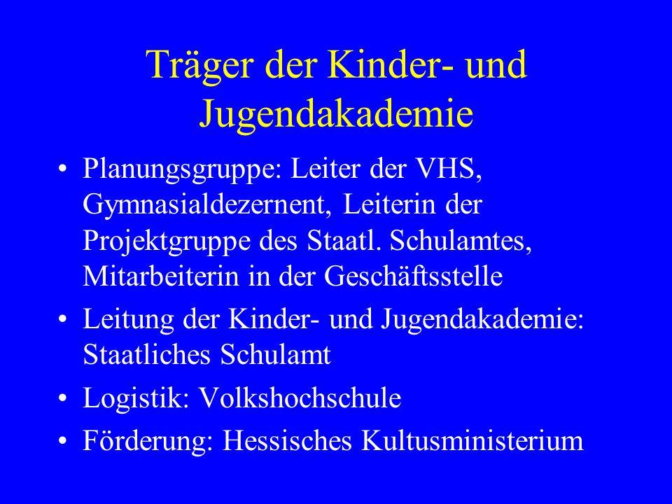 Träger der Kinder- und Jugendakademie Planungsgruppe: Leiter der VHS, Gymnasialdezernent, Leiterin der Projektgruppe des Staatl.