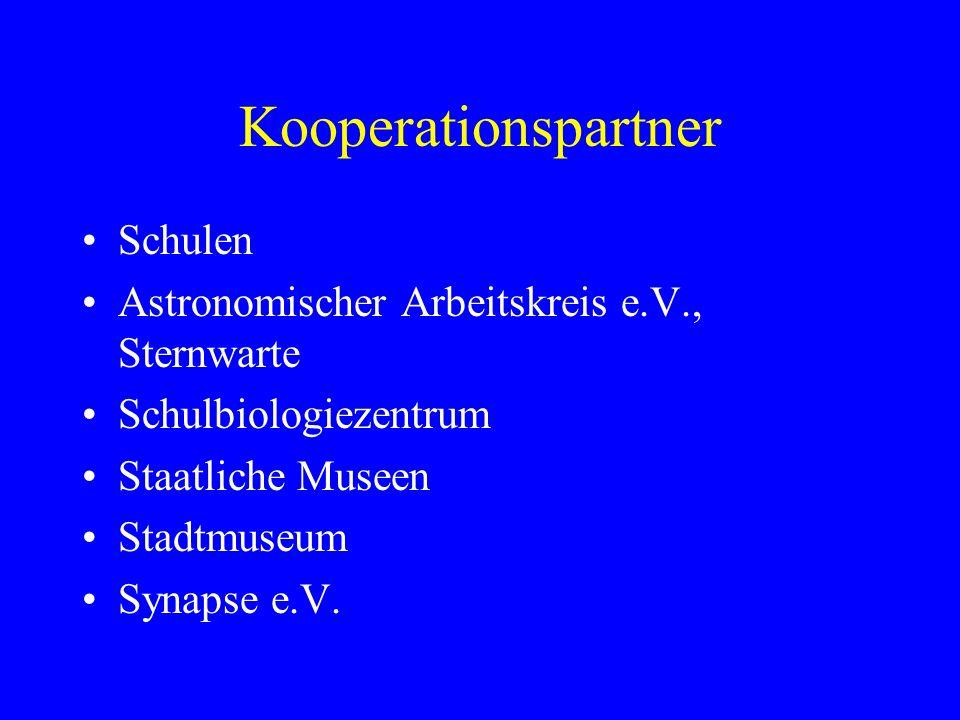 Kooperationspartner Schulen Astronomischer Arbeitskreis e.V., Sternwarte Schulbiologiezentrum Staatliche Museen Stadtmuseum Synapse e.V.