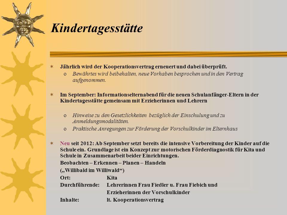 Leitsatz 2 Wir kooperieren eng mit den anderen Bildungseinrichtungen unseres Landkreises, insbesondere mit der Kindertagesstätte Kinderhaus Sonnensche