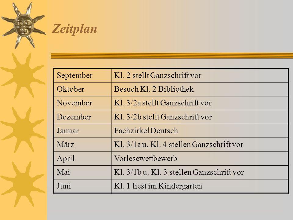 Festlegungen für 2013/14 Klassen 2 – 4 lesen pro Schuljahr mindestens ein oder zwei Ganzschriften (Kl. 1 nach Bedarf) und stellen ihre Arbeiten zu ein
