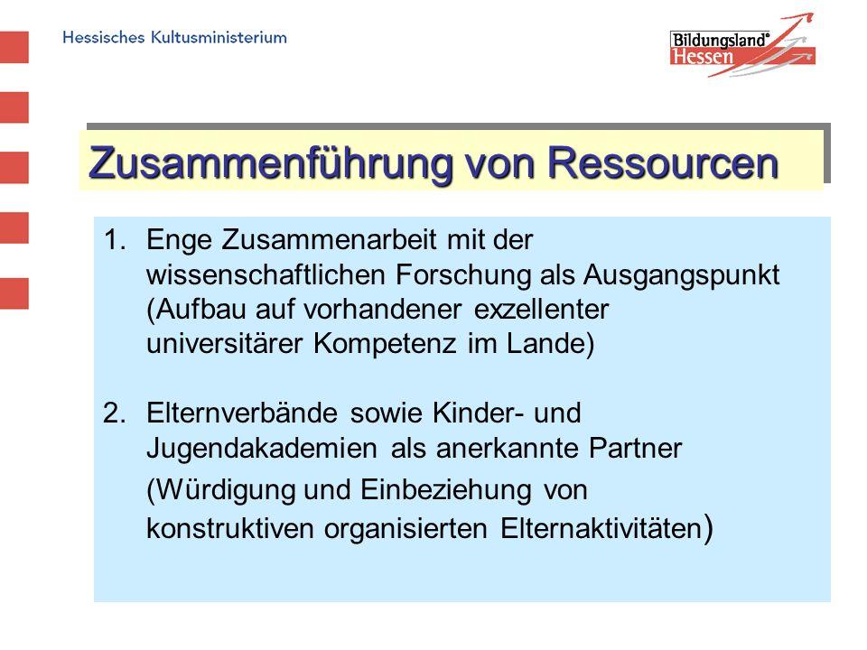 Zusammenführung von Ressourcen 1.Enge Zusammenarbeit mit der wissenschaftlichen Forschung als Ausgangspunkt (Aufbau auf vorhandener exzellenter univer