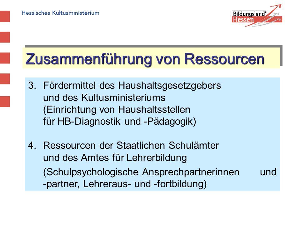 Zusammenführung von Ressourcen 3.Fördermittel des Haushaltsgesetzgebers und des Kultusministeriums (Einrichtung von Haushaltsstellen für HB-Diagnostik