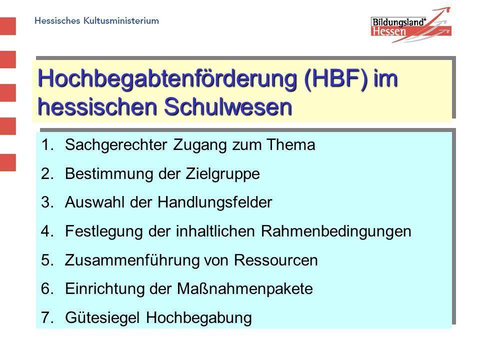Hochbegabtenförderung (HBF) im hessischen Schulwesen 1.Sachgerechter Zugang zum Thema 2.Bestimmung der Zielgruppe 3.Auswahl der Handlungsfelder 4.Fest