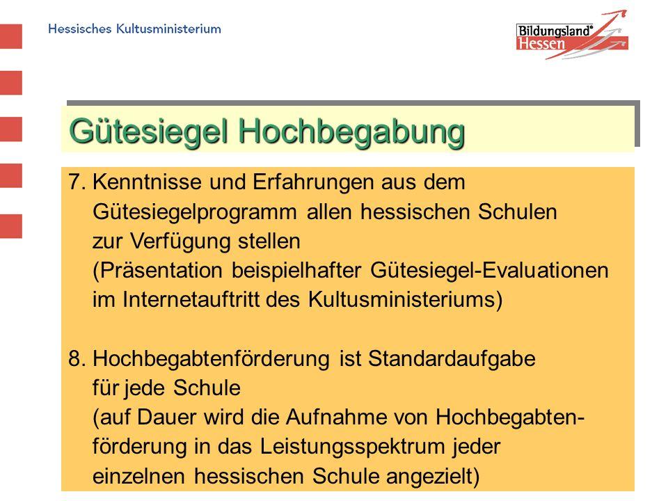 Gütesiegel Hochbegabung 7. Kenntnisse und Erfahrungen aus dem Gütesiegelprogramm allen hessischen Schulen zur Verfügung stellen (Präsentation beispiel
