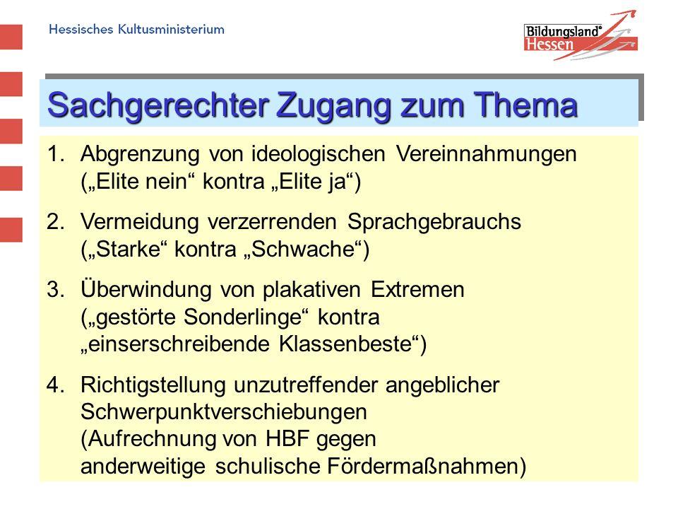 Sachgerechter Zugang zum Thema 1.Abgrenzung von ideologischen Vereinnahmungen (Elite nein kontra Elite ja) 2.Vermeidung verzerrenden Sprachgebrauchs (