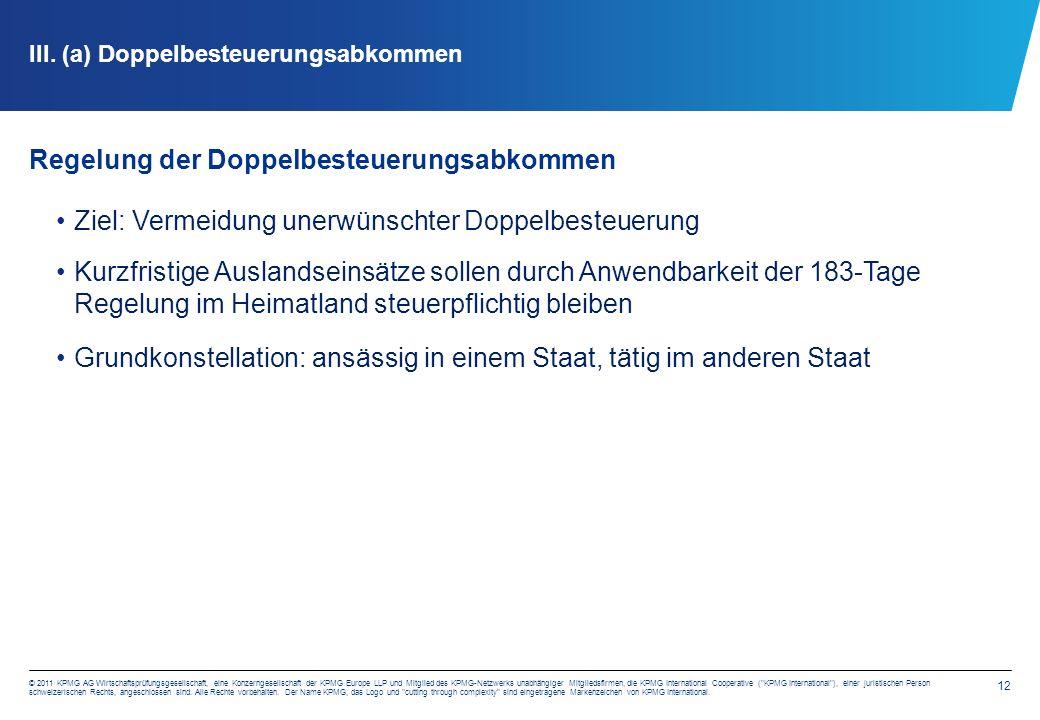 12 © 2011 KPMG AG Wirtschaftsprüfungsgesellschaft, eine Konzerngesellschaft der KPMG Europe LLP und Mitglied des KPMG-Netzwerks unabhängiger Mitgliedsfirmen, die KPMG International Cooperative ( KPMG International ), einer juristischen Person schweizerischen Rechts, angeschlossen sind.