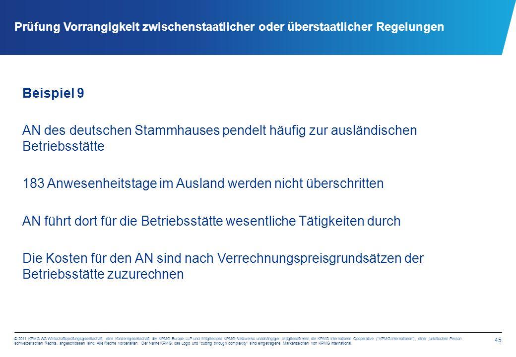 45 © 2011 KPMG AG Wirtschaftsprüfungsgesellschaft, eine Konzerngesellschaft der KPMG Europe LLP und Mitglied des KPMG-Netzwerks unabhängiger Mitgliedsfirmen, die KPMG International Cooperative ( KPMG International ), einer juristischen Person schweizerischen Rechts, angeschlossen sind.