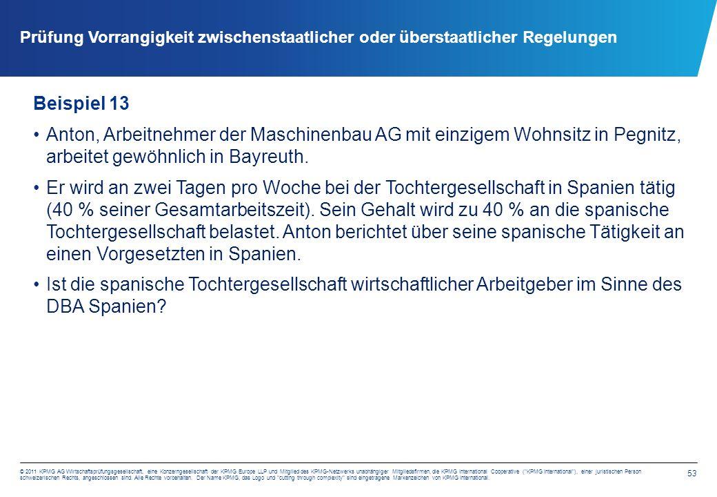53 © 2011 KPMG AG Wirtschaftsprüfungsgesellschaft, eine Konzerngesellschaft der KPMG Europe LLP und Mitglied des KPMG-Netzwerks unabhängiger Mitgliedsfirmen, die KPMG International Cooperative ( KPMG International ), einer juristischen Person schweizerischen Rechts, angeschlossen sind.