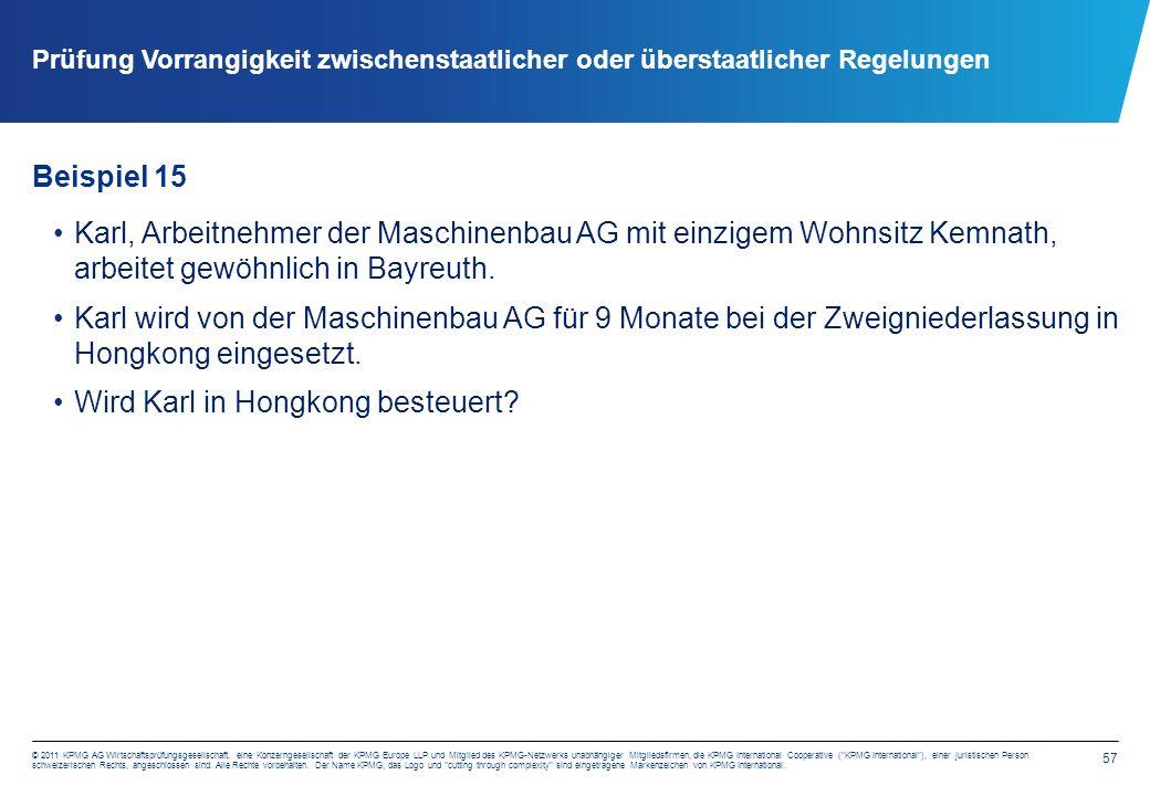 57 © 2011 KPMG AG Wirtschaftsprüfungsgesellschaft, eine Konzerngesellschaft der KPMG Europe LLP und Mitglied des KPMG-Netzwerks unabhängiger Mitgliedsfirmen, die KPMG International Cooperative ( KPMG International ), einer juristischen Person schweizerischen Rechts, angeschlossen sind.