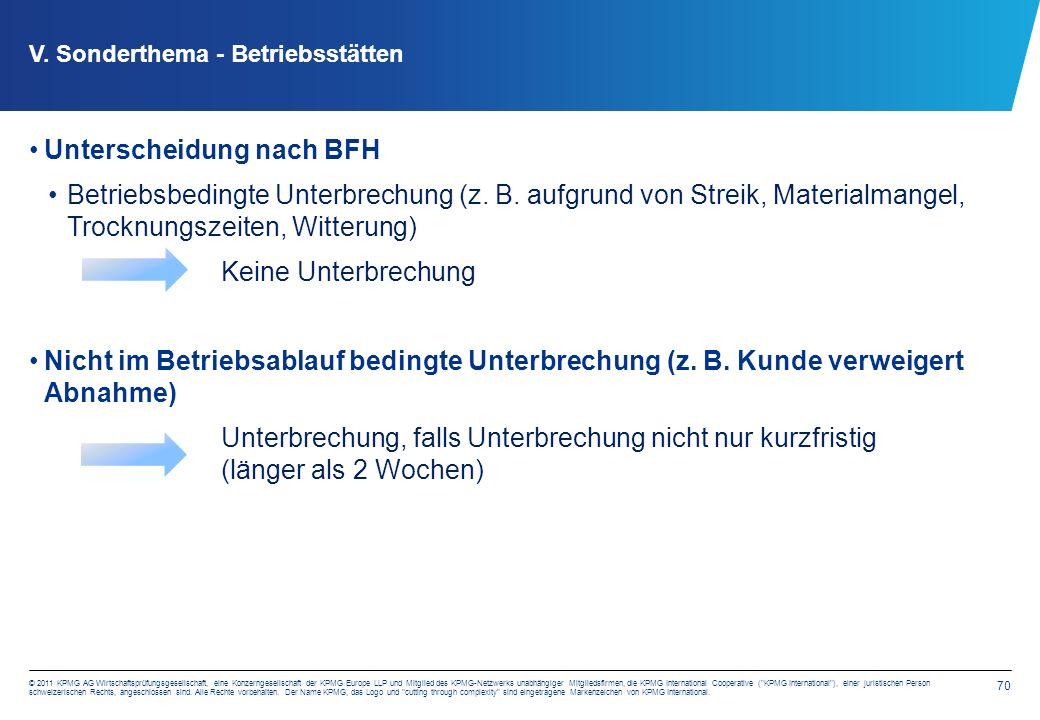 70 © 2011 KPMG AG Wirtschaftsprüfungsgesellschaft, eine Konzerngesellschaft der KPMG Europe LLP und Mitglied des KPMG-Netzwerks unabhängiger Mitglieds