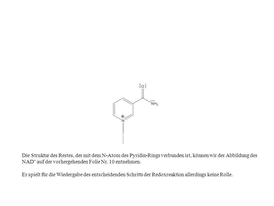 Die Struktur des Restes, der mit dem N-Atom des Pyridin-Rings verbunden ist, können wir der Abbildung des NAD + auf der vorhergehenden Folie Nr.