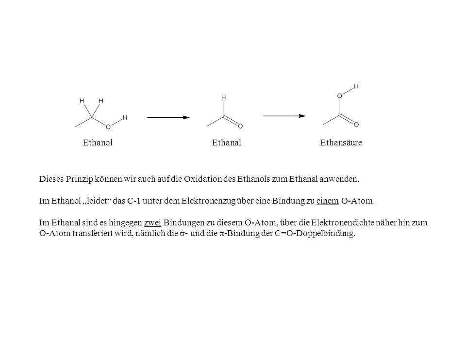 EthanolEthanalEthansäure Dieses Prinzip können wir auch auf die Oxidation des Ethanols zum Ethanal anwenden.