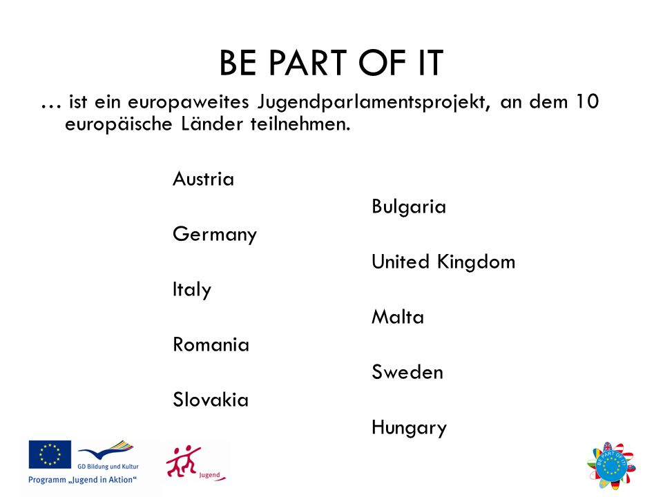 BE PART OF IT … ist ein europaweites Jugendparlamentsprojekt, an dem 10 europäische Länder teilnehmen.