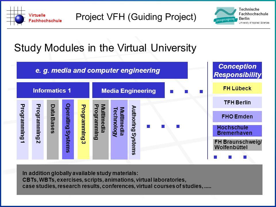 Virtuelle Fachhochschule Technische Fachhochschule Berlin University of Applied Sciences e. g. media and computer engineering Informatics 1 In additio