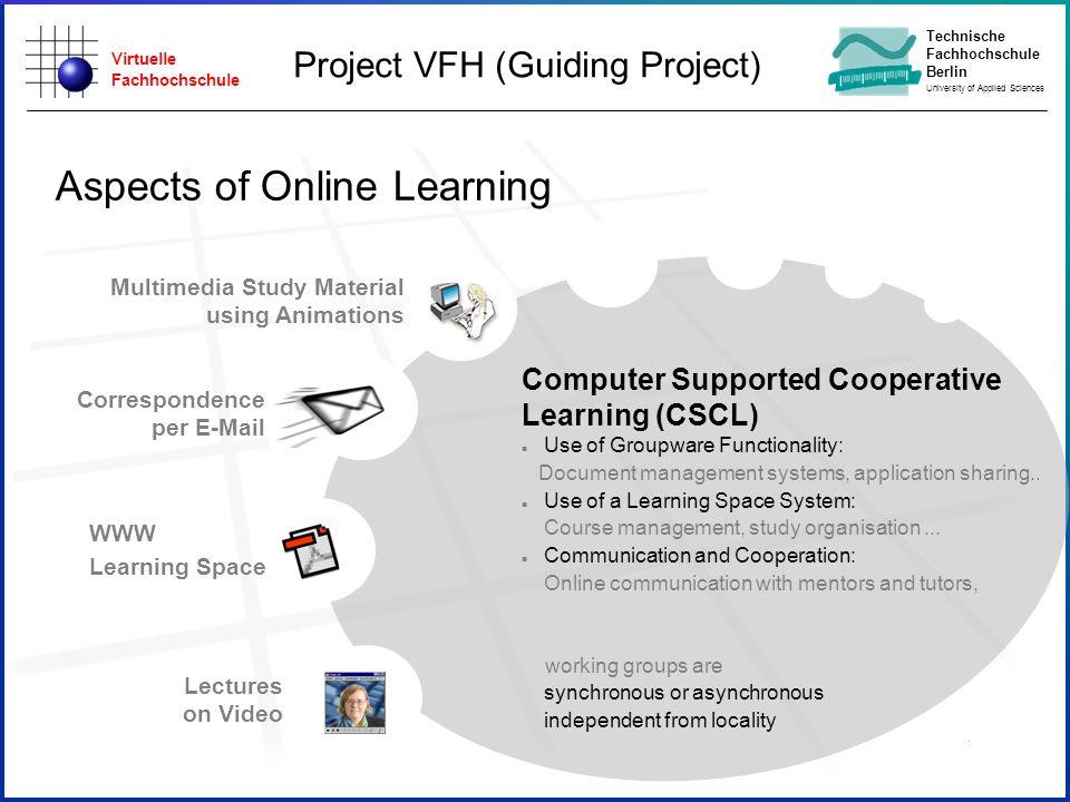 Virtuelle Fachhochschule Technische Fachhochschule Berlin University of Applied Sciences Aspects of Online Learning Lectures on Video Multimedia Study