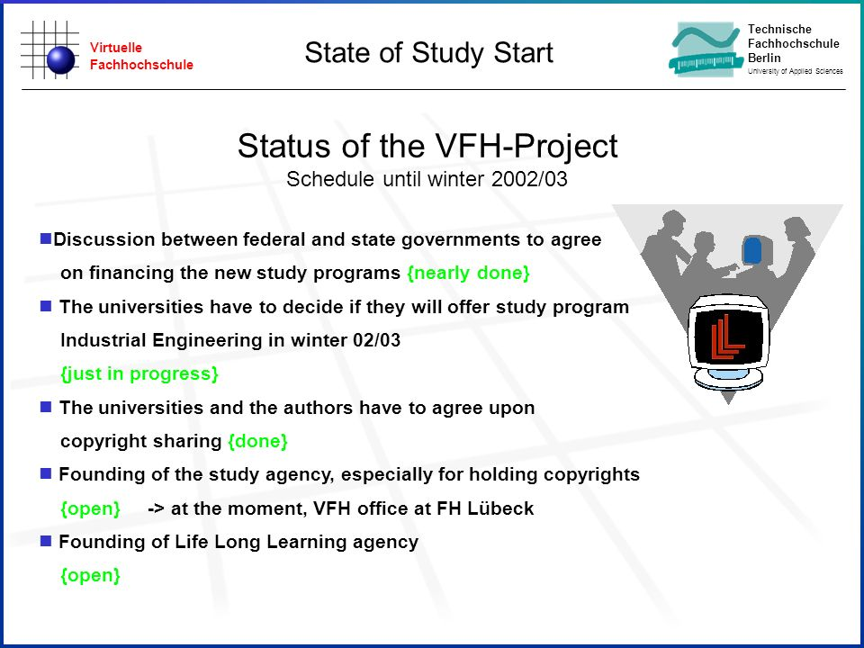 Virtuelle Fachhochschule Technische Fachhochschule Berlin University of Applied Sciences Status of the VFH-Project Schedule until winter 2002/03 Discussion between federal and state governments to agree on financing the new study programs {nearly done} The universities have to decide if they will offer study program Industrial Engineering in winter 02/03 {just in progress} The universities and the authors have to agree upon copyright sharing {done} Founding of the study agency, especially for holding copyrights {open} -> at the moment, VFH office at FH Lübeck Founding of Life Long Learning agency {open} State of Study Start