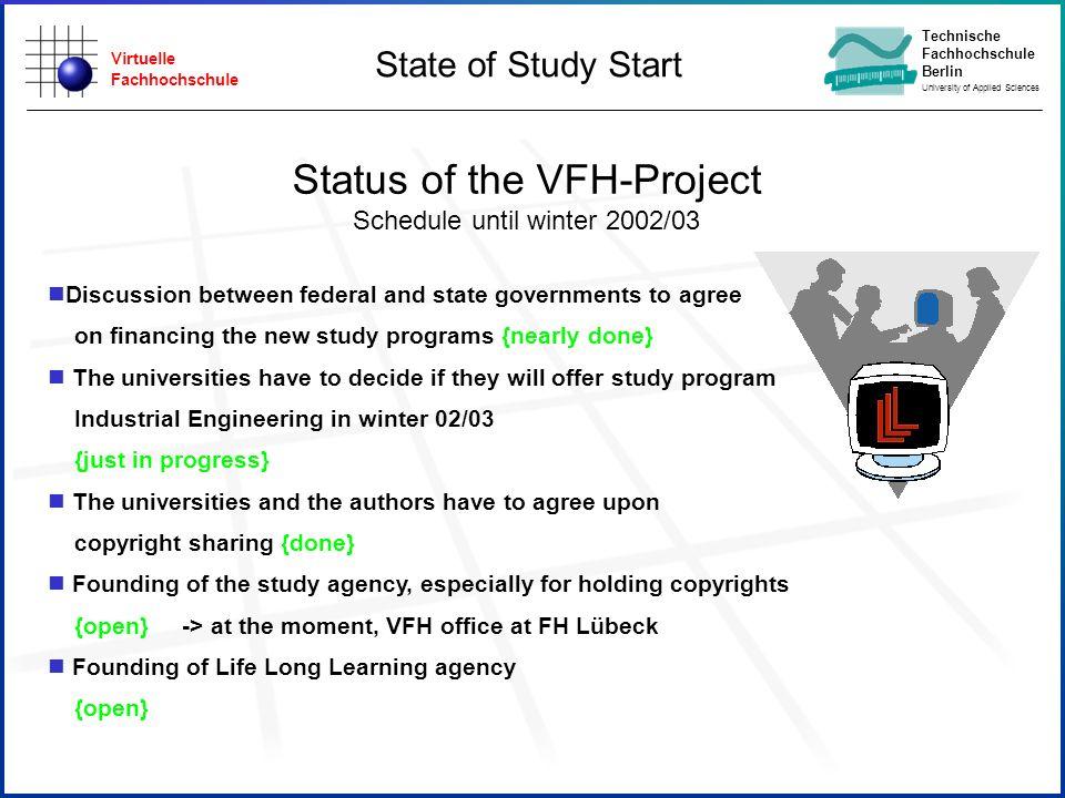 Virtuelle Fachhochschule Technische Fachhochschule Berlin University of Applied Sciences Status of the VFH-Project Schedule until winter 2002/03 Discu