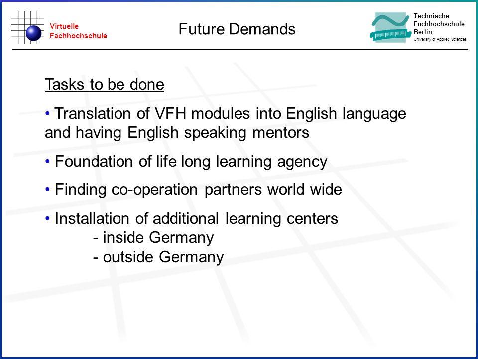 Virtuelle Fachhochschule Technische Fachhochschule Berlin University of Applied Sciences Future Demands Tasks to be done Translation of VFH modules in