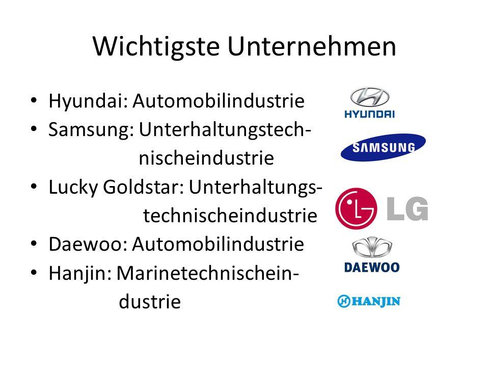 Wichtigste Unternehmen Hyundai: Automobilindustrie Samsung: Unterhaltungstech- nischeindustrie Lucky Goldstar: Unterhaltungs- technischeindustrie Daew