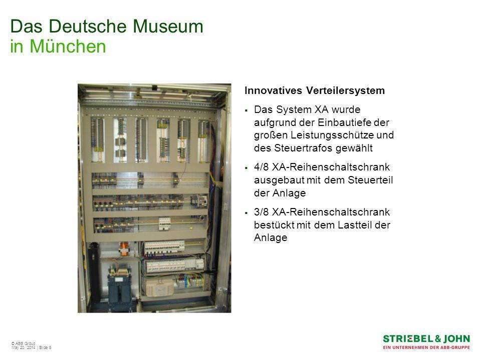© ABB Group May 20, 2014 | Slide 6 Das Deutsche Museum in München Technische Daten Bemessungsstrom: 300 A Schutzart: IP 54 Schutzklasse: 1 4/8 XA-Reihenschaltschrank 3/8 XA-Reihenschaltschrank