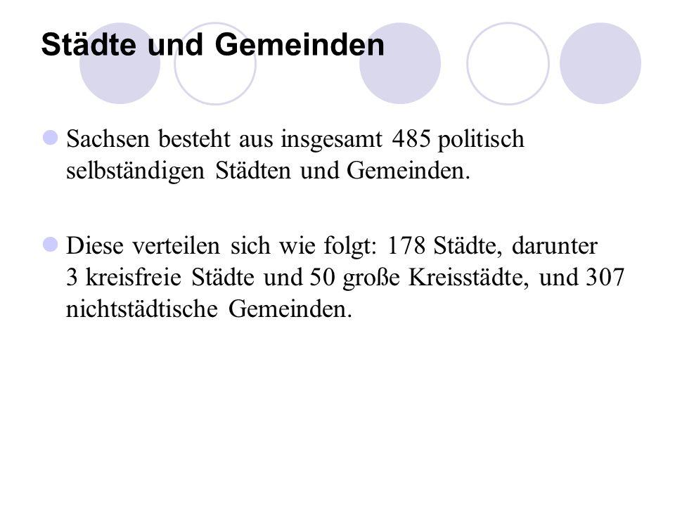 Städte und Gemeinden Sachsen besteht aus insgesamt 485 politisch selbständigen Städten und Gemeinden. Diese verteilen sich wie folgt: 178 Städte, daru