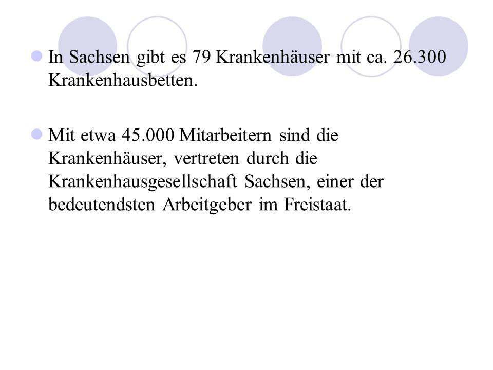 In Sachsen gibt es 79 Krankenhäuser mit ca. 26.300 Krankenhausbetten. Mit etwa 45.000 Mitarbeitern sind die Krankenhäuser, vertreten durch die Kranken