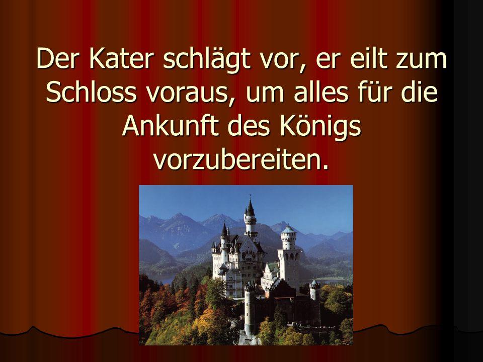 Der Kater schlägt vor, er eilt zum Schloss voraus, um alles für die Ankunft des Königs vorzubereiten.