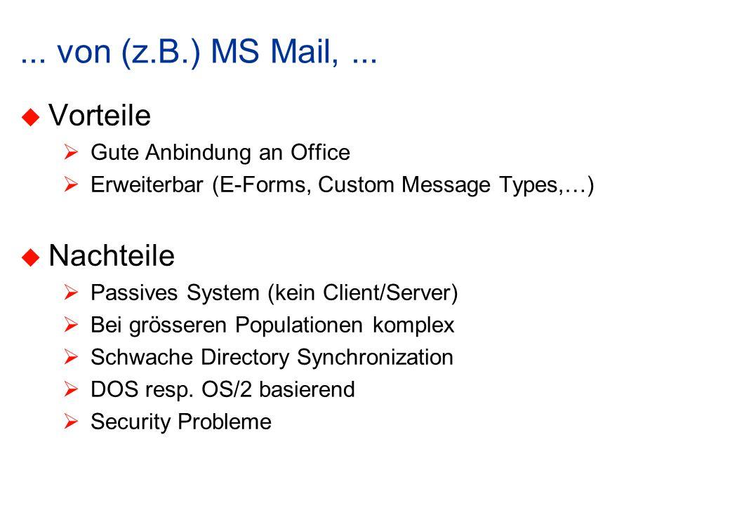 ... von (z.B.) MS Mail,... Vorteile Gute Anbindung an Office Erweiterbar (E-Forms, Custom Message Types,…) Nachteile Passives System (kein Client/Serv