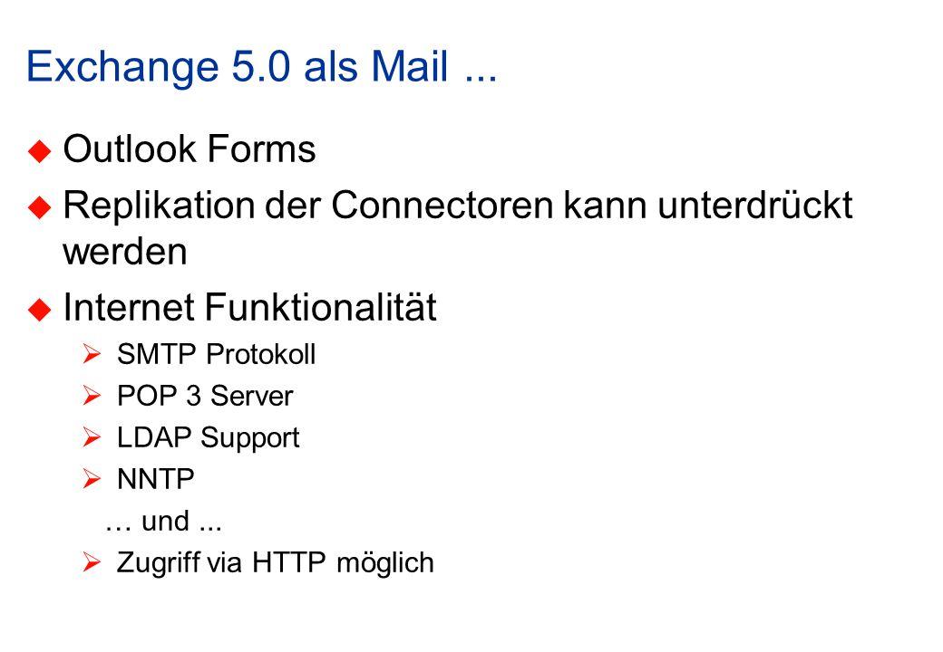 Exchange 5.0 als Mail... Outlook Forms Replikation der Connectoren kann unterdrückt werden Internet Funktionalität SMTP Protokoll POP 3 Server LDAP Su