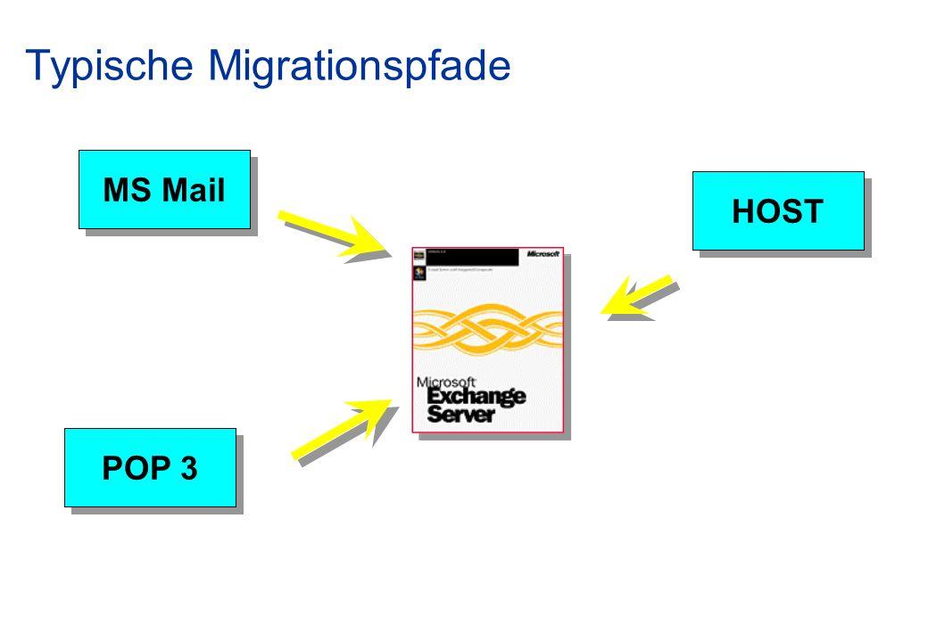 Typische Migrationspfade MS Mail HOST POP 3