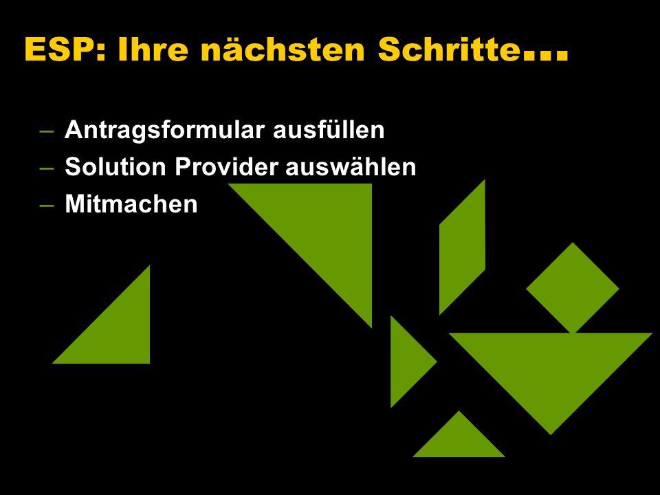 –Antragsformular ausfüllen –Solution Provider auswählen –Mitmachen ESP: Ihre nächsten Schritte...