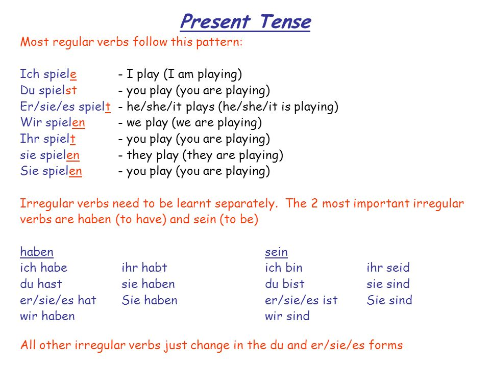 Perfect Tense (1) The perfect tense is used to talk about things that happened in the past and it is formed as follows: An auxiliary verb (haben or sein) + The past participle of the verb you want to use (this goes to the end of the sentence) e.g.
