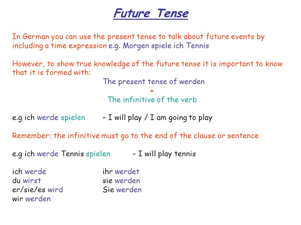 Conditional Tense The conditional tense is used when you want to say would This is formed with: The correct form of werden + The infinitive of the verb e.g ich würde spielen – I would play Remember: the infinitive must go to the end of the clause or sentence e.g ich würde Tennis spielen – I would play tennis ich würdeihr würdet du würdestsie würden er/sie/es würdeSie würden wir würden However, instead of saying I would be able to (ich würde ….