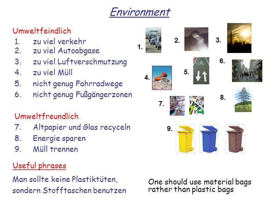 1.zu viel verkehr 2.zu viel Autoabgase 3.zu viel Luftverschmutzung 4.zu viel Müll 5.nicht genug Fahrradwege 6.nicht genug Fußgängerzonen Umweltfreundl