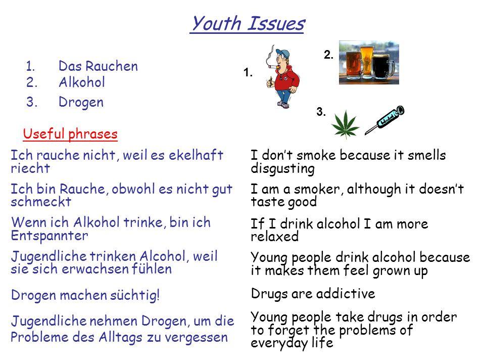 1.Das Rauchen 2.Alkohol 3.Drogen Youth Issues 1. 3. Ich rauche nicht, weil es ekelhaft riecht Ich bin Rauche, obwohl es nicht gut schmeckt Wenn ich Al