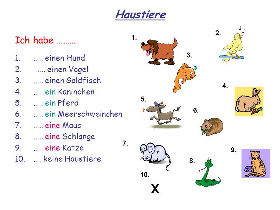 Haustiere 1.….. einen Hund 2. ….. einen Vogel 3.….. einen Goldfisch 4.….. ein Kaninchen 5.….. ein Pferd 6.….. ein Meerschweinchen 7.….. eine Maus 8.….