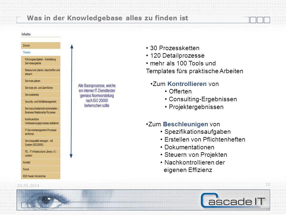 Was in der Knowledgebase alles zu finden ist 20.05.2014 12 20.05.2014 12 30 Prozessketten 120 Detailprozesse mehr als 100 Tools und Templates fürs praktische Arbeiten Zum Beschleunigen von Spezifikationsaufgaben Erstellen von Pflichtenheften Dokumentationen Steuern von Projekten Nachkontrollieren der eigenen Effizienz Zum Kontrollieren von Offerten Consulting-Ergebnissen Projektergebnissen