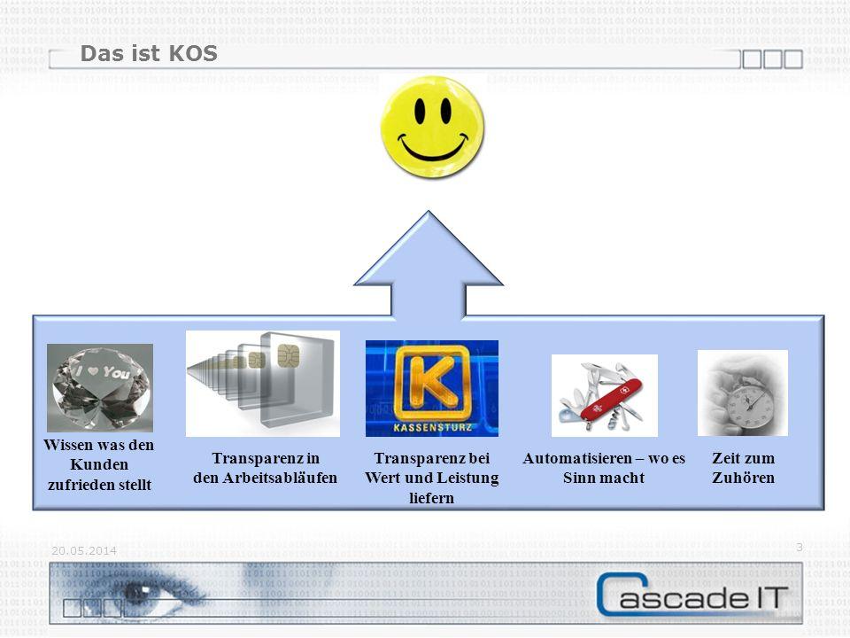 Das ist KOS 20.05.2014 3 Transparenz in den Arbeitsabläufen Transparenz bei Wert und Leistung liefern Automatisieren – wo es Sinn macht Wissen was den Kunden zufrieden stellt Zeit zum Zuhören