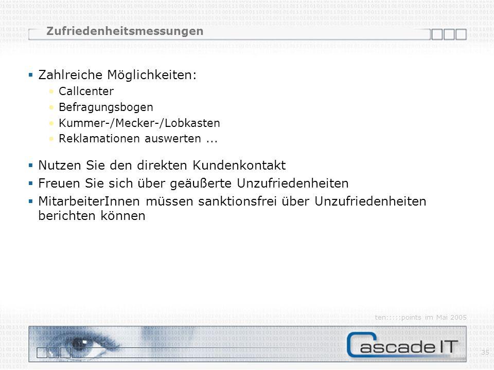 ten:::::points im Mai 2005 35 Zahlreiche Möglichkeiten: Callcenter Befragungsbogen Kummer-/Mecker-/Lobkasten Reklamationen auswerten...
