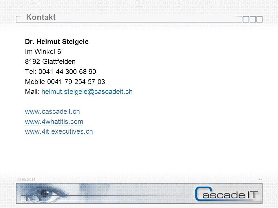 20.05.2014 20 Kontakt Dr. Helmut Steigele Im Winkel 6 8192 Glattfelden Tel: 0041 44 300 68 90 Mobile 0041 79 254 57 03 Mail: helmut.steigele@cascadeit