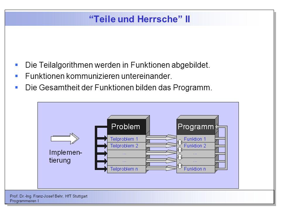 Prof. Dr.-Ing. Franz-Josef Behr, HfT Stuttgart Programmeiren I Teile und Herrsche II Die Teilalgorithmen werden in Funktionen abgebildet. Funktionen k