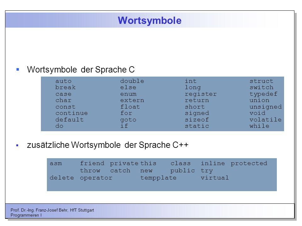 Prof. Dr.-Ing. Franz-Josef Behr, HfT Stuttgart Programmeiren I Wortsymbole Wortsymbole der Sprache C auto double int struct break else long switch cas