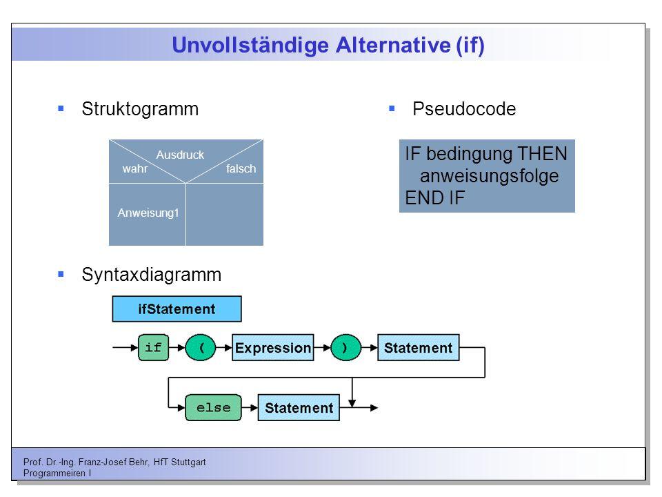 Prof. Dr.-Ing. Franz-Josef Behr, HfT Stuttgart Programmeiren I Unvollständige Alternative (if) Struktogramm Ausdruck wahrfalsch Anweisung1 Pseudocode
