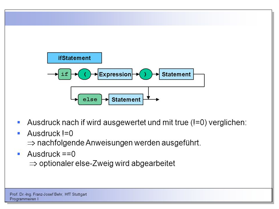 Prof. Dr.-Ing. Franz-Josef Behr, HfT Stuttgart Programmeiren I Ausdruck nach if wird ausgewertet und mit true (!=0) verglichen: Ausdruck !=0 nachfolge