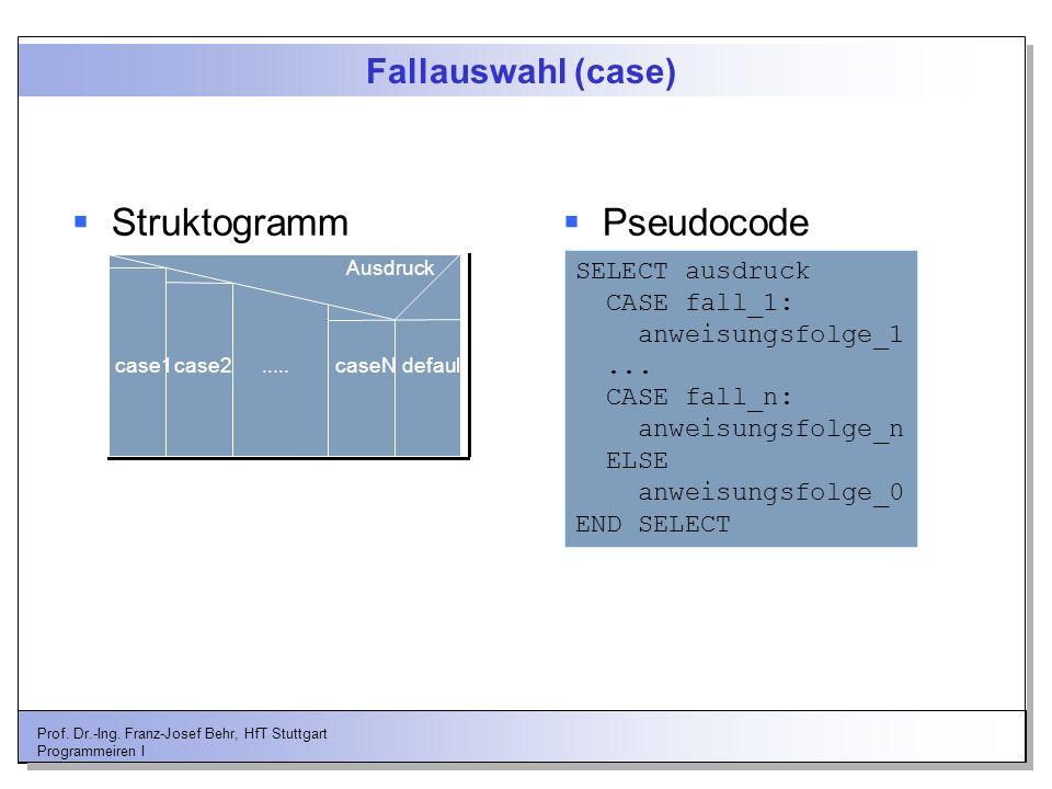 Prof. Dr.-Ing. Franz-Josef Behr, HfT Stuttgart Programmeiren I Fallauswahl (case) Ausdruck case1case2.....caseNdefault Struktogramm Pseudocode SELECT
