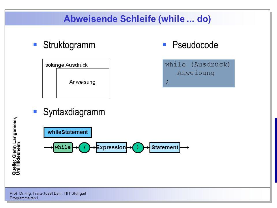 Prof. Dr.-Ing. Franz-Josef Behr, HfT Stuttgart Programmeiren I Abweisende Schleife (while... do) Struktogramm Pseudocode Syntaxdiagramm while (Ausdruc